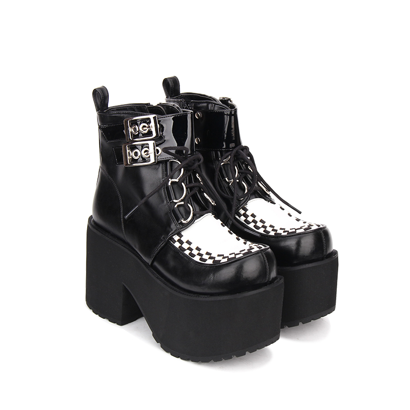 fd623d5d4a1 Angelic imprint Punk style Booties Ankle lolita Boots Black Leather Platform  gothic shoes Size 35 46 9710-in Ankle Boots from Shoes on Aliexpress.com ...