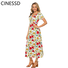 CINESSD Women Floral Print Long Dress Sexy V-neck Short Sleeves Bohemian A-Line Swing Loose Casual Party Lady Maxi Beach Dress floral print round neck half sleeves vacation a line dress