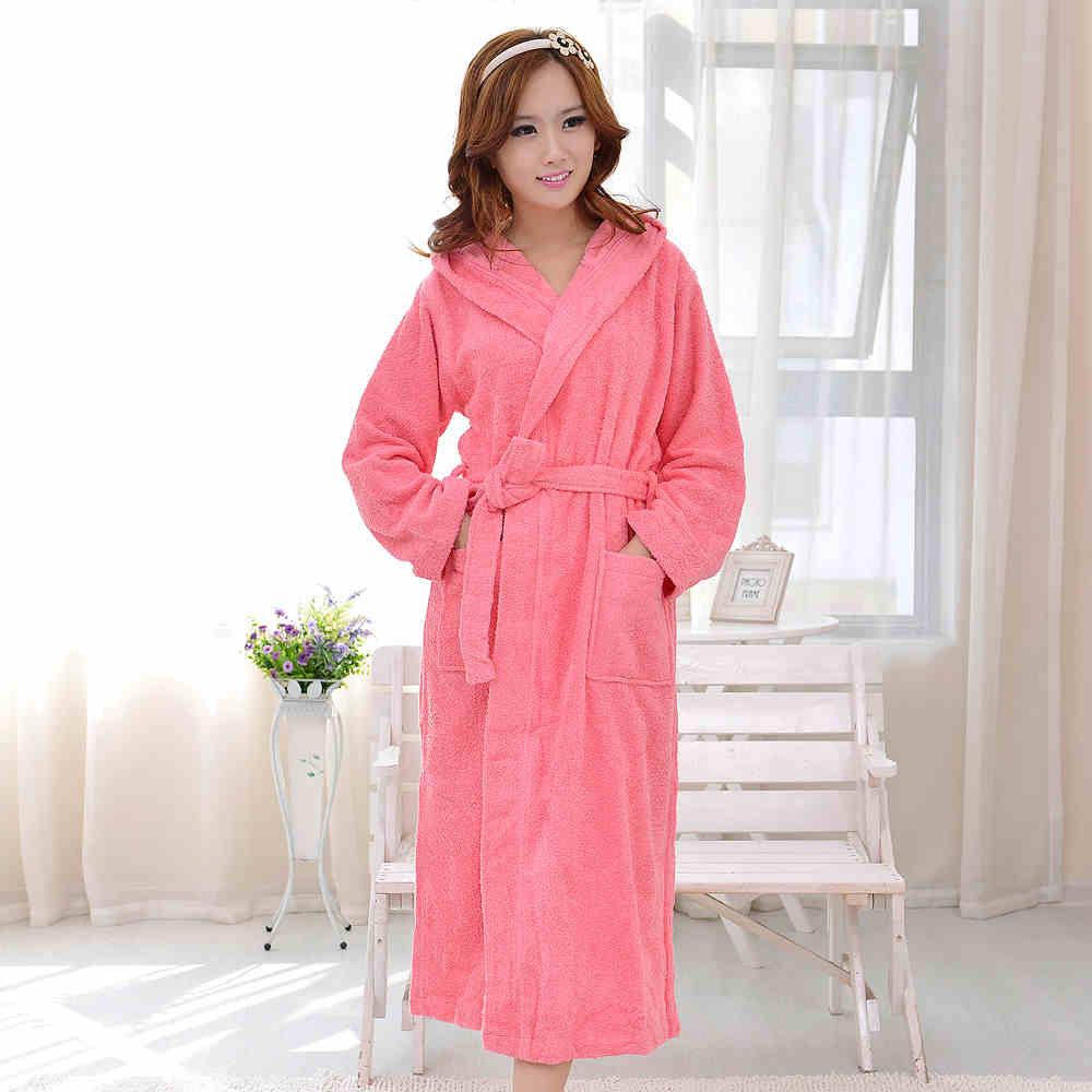 Hooded women bathrobe cotton long soft thicken warm nightgown sleepwear ladies towel fleece home hotel red blue