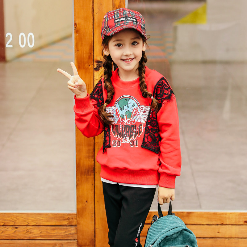 2018 Baby Girls Spring Fall Sweater Shirt Casual Active Top Clothes for Teenage Kids Lace Design Age 456789 10 11 12 Years Old 2018 baby girls red cardigan floral design cute spring coat for children teenage spring clothes age 456789 10 11 12 years old