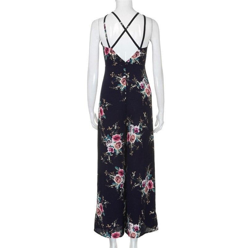 NEW Fashion summer jumpsuit woman 2018 Sleeveless Floral Print Jumpsuit Summer Loose Playsuit Rompers pantaloni siamesi J28#N (14)