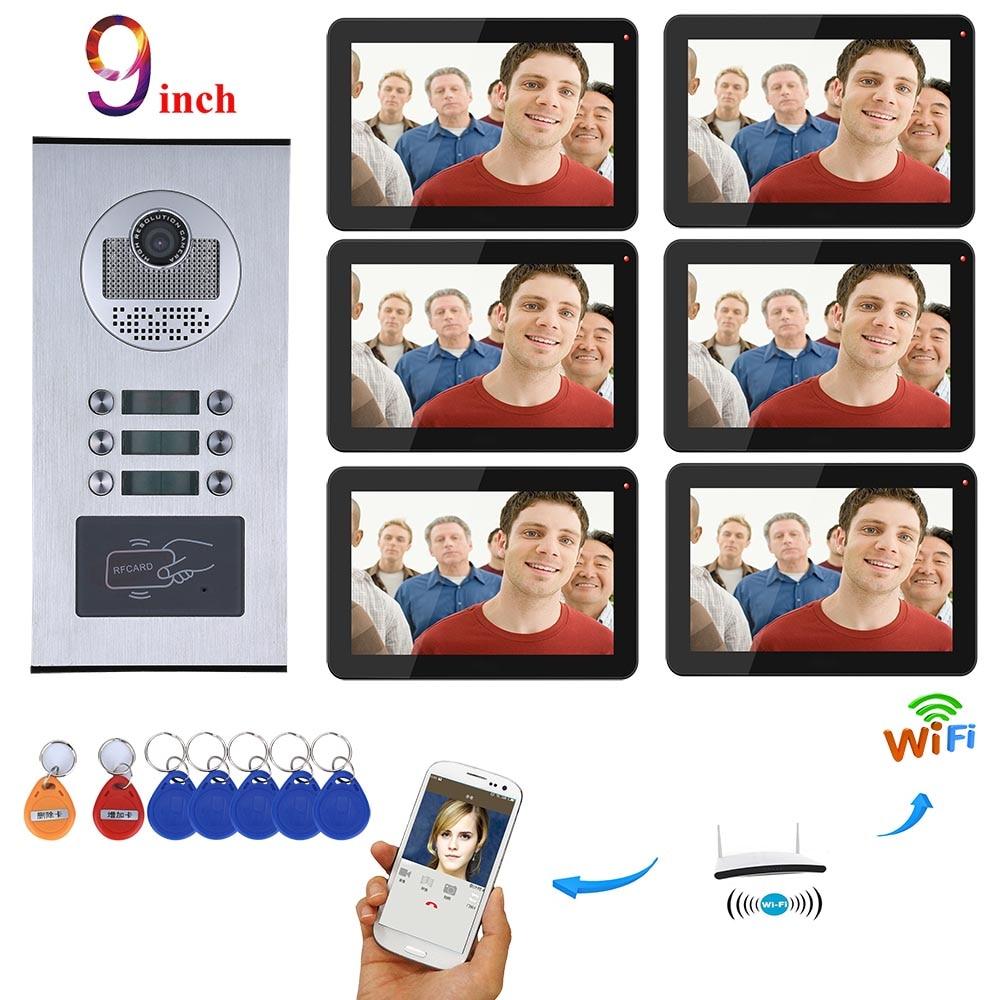 MOUNTAINONE Video Intercom Systems 6 Apartments 9 Inch Wifi Video Door Phone System RFID IR-CUT HD 1000TVL Doorbell Camera