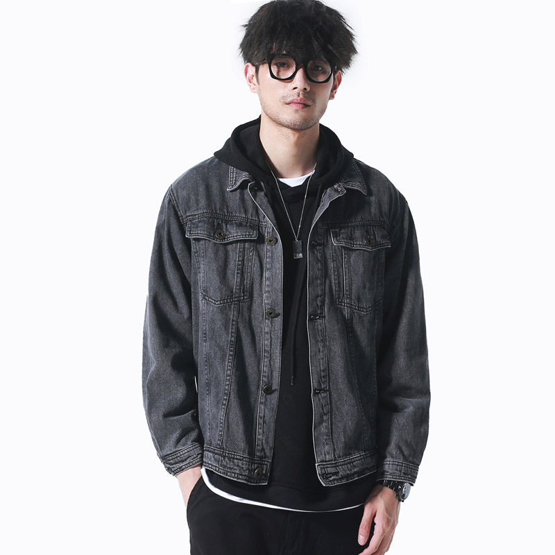 Hombres Nuevo 2019 De Traje Original Vestido Gris Otoño Moda Abrigo Ropa Lavado Jeans Oscuro Chaqueta Pesado Hq5RqB
