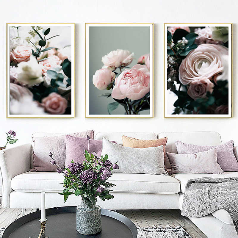 Modern Peonies Floral Canvas Painting Gallery Flower Wall Art Posters Print Nordic Pictures for Living Room Interior Home Decor