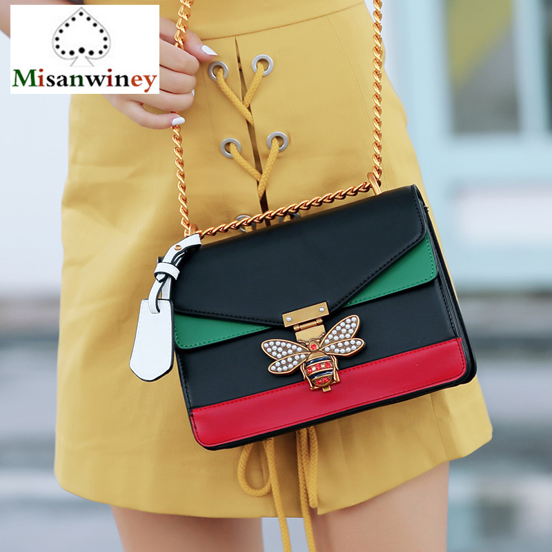 Luxury Brand Women Messenger Bags Bee Logo Handbag Crossbody Bags for Lady Diamond Shoulder Bag Famous Designer Clutch Purse Sac luxury brand women chain messenger shoulder bag patchwork leather handbag clutch purse famous designer crossbody bags sac a main