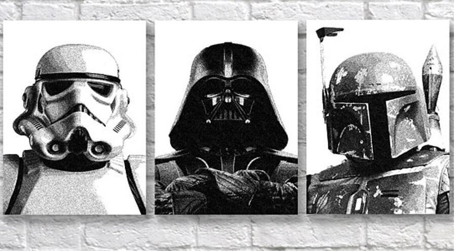 diamond Painting Living Room Decor art 3 Piece Movie Character Pictures Modern Retro Black And White diamond embroidery Star Wa