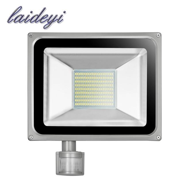 LAIDEYI IP65 Waterproof 100W Sensor Led Flood Light SMD5730 80LM/W Motion Sensor Led Flood Light Outdoor AC220V Floodlight Lamp