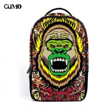 Ou Mo brand Gorilla Print Mini Bag laptop anti theft backpack feminina Women man middle School student Schoolbag