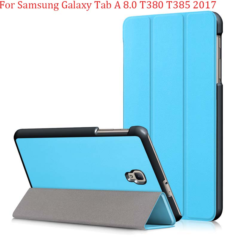 Magnetic Case For Samsung Galaxy Tab A 8.0 T380 T385 2017 8.0 Inch Smart Cover Tablet PU Stand Case Handrest Cover Bag Folding