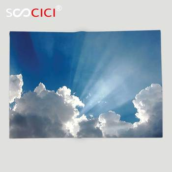 Custom Soft Fleece Throw Blanket Apartment Decor Colorful Sky With Clouds And Sun Rays Dreamy Cloudscape After Rain Picture Blue