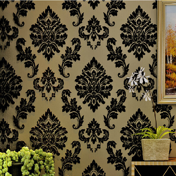 European Luxury Reliefs 3D Wallpaper Black Damask Floral Wall Paper Living Room Bedroom Wallpaper For Walls 3d papel de parede large flower blossom floral 3d room modern wallpaper for walls 3d livingroom wall paper mural rolls household papel de parede