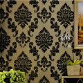 European Luxury Reliefs 3D Wallpaper Black Damask Floral Wall Paper Living Room Bedroom Wallpaper For Walls 3d papel de parede