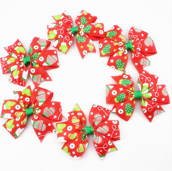 150pcs 3 5inch BowTie Design Winter Glove Patterned Christmas Ribbon Bows for Girl