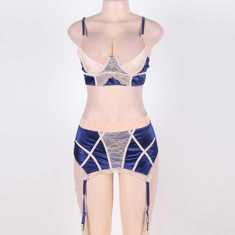 Bra & ชุดขนาดใหญ่ 6XL Suspenders ชุดชั้นใน Underwire ชุดชั้นในเซ็กซี่ Garters Intimates หญิง RW80186P