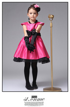 hot sale girls High-grade Princess party dress hot pink with black belt summer dresses for 2-6 years wholesale kids