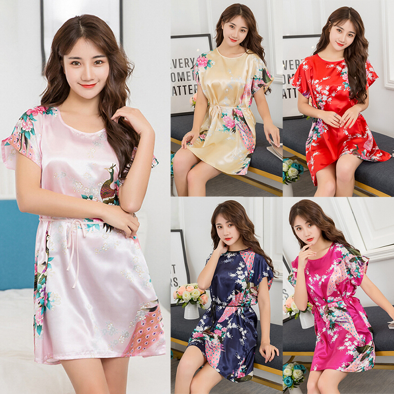 Women Satin Sleepwear Silk Nightgown Short Sleeve Nightdress Women Ladies Fuax Silk Robes Nightwear Night Dress