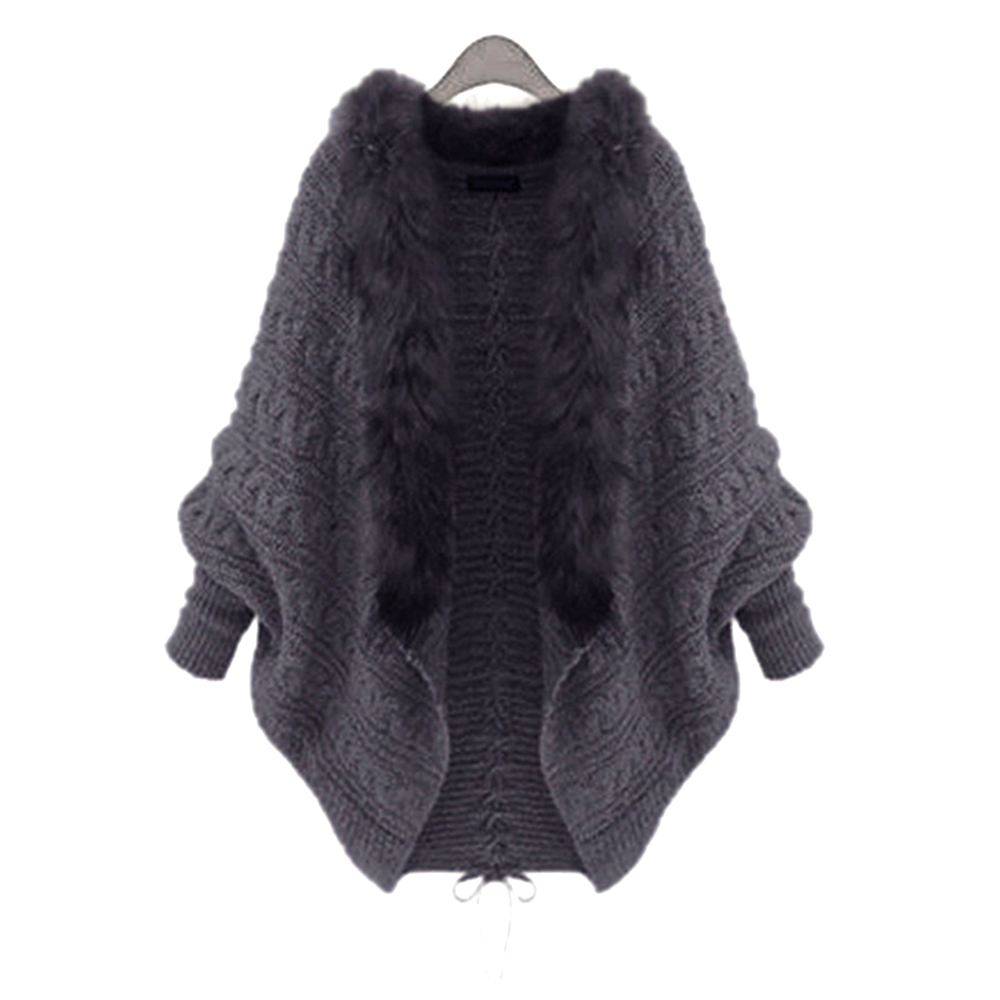Women Sweater Coat Fashion Long Batwing Sleeve Fur Collar