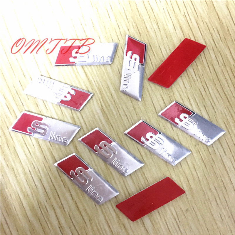 10pcs S Line Sline Car Door window Steering Wheel Emblem 3D Decoration Stickers For Audi S3 S4 S5 S6 A3 A4 A5 A6 A7 A8 S8 Q3 S7