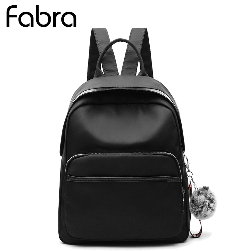 Fabra New Waterproof Nylon Women Backpack Bags Solid Black Only Casual Shoulder Bag Small Daypacks Korean Style Bag 25*14*32 CM 2016 autumn and winter new casual waterproof nylon shell bag soft bag portable women shouid bags dd5023