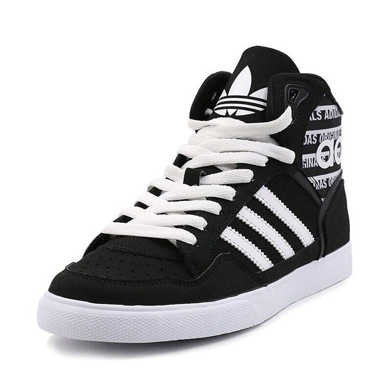 Genuine Adidas Sneakers New Originals Sports Black White Stripe Letter  Unisex Skateboarding Shoes High top Adidas Sneakers-in Skateboarding from  Sports ... 6fb05e0f3