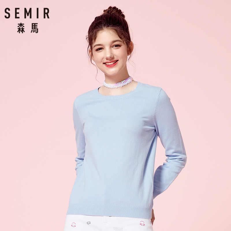 Semir 2019 Kasmir Rajutan Sweater Wanita Pullover Turtleneck Musim Gugur Musim Dingin Dasar Sweater Wanita Gaya Korea Slim Fit Hitam
