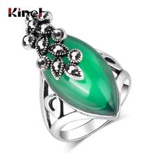 Kinel Luxury Eye Shape Resin Rings Vintage Plant Leaf For Women Antique Silver Plated Fashion Jewelry