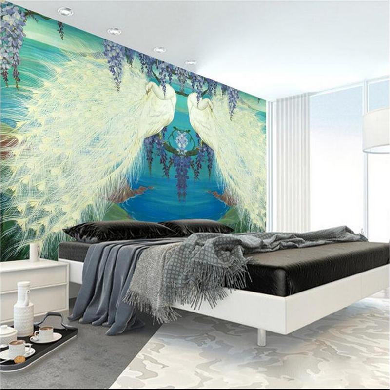 Custom Peacock Wallpaper Chinese Murals High Quality Embossed Non-Woven TV Background Wall Mural Wallpaper Living Room Bedroom