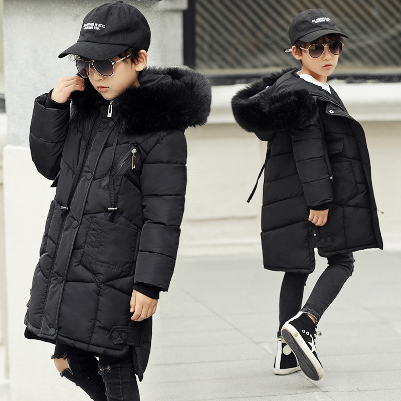 Boys Winter Fur Hooded Down Jacket 2017 Kids Warm Down Jackets For Boys Parka For Snow Wear Boys Thickened Outerwear Coats 13 14 2017 boys winter jackets coats fashion hooded warm winter jacket for boys kids cotton outerwears coats for 10degree boys parkas