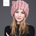 2016 New Arrival National Fur Material Winter Cap Rabbit Wool Hat For Women's Earflap Dress Lovely Ear Multi Colors Solid