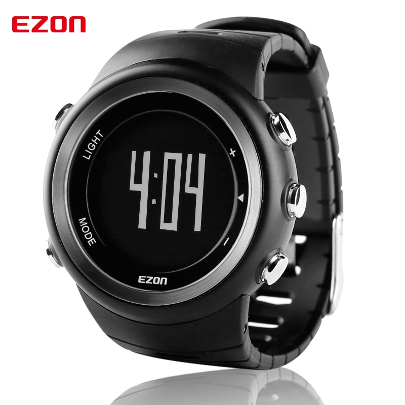 EZON Men Sport Watch Pedometer Calorie Monitor Digital Watch Outdoor Running Sports Watches Waterproof T023B01 ezon outdoor sports for smart gps watches running male multifunctional 5atm waterproof electronic watch g1 black