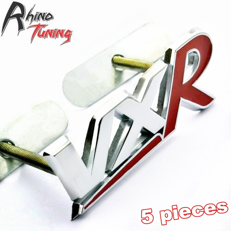 Rhino Tuning 5PC 3D VXR Red Metal Car Front Grill Grille Badge Emblem Auto Styling For GTC Astra AMPERA 068 metal red blue st front grille sticker car head grill emblem badge chrome sticker for ford fiesta focus mondeo auto car styling