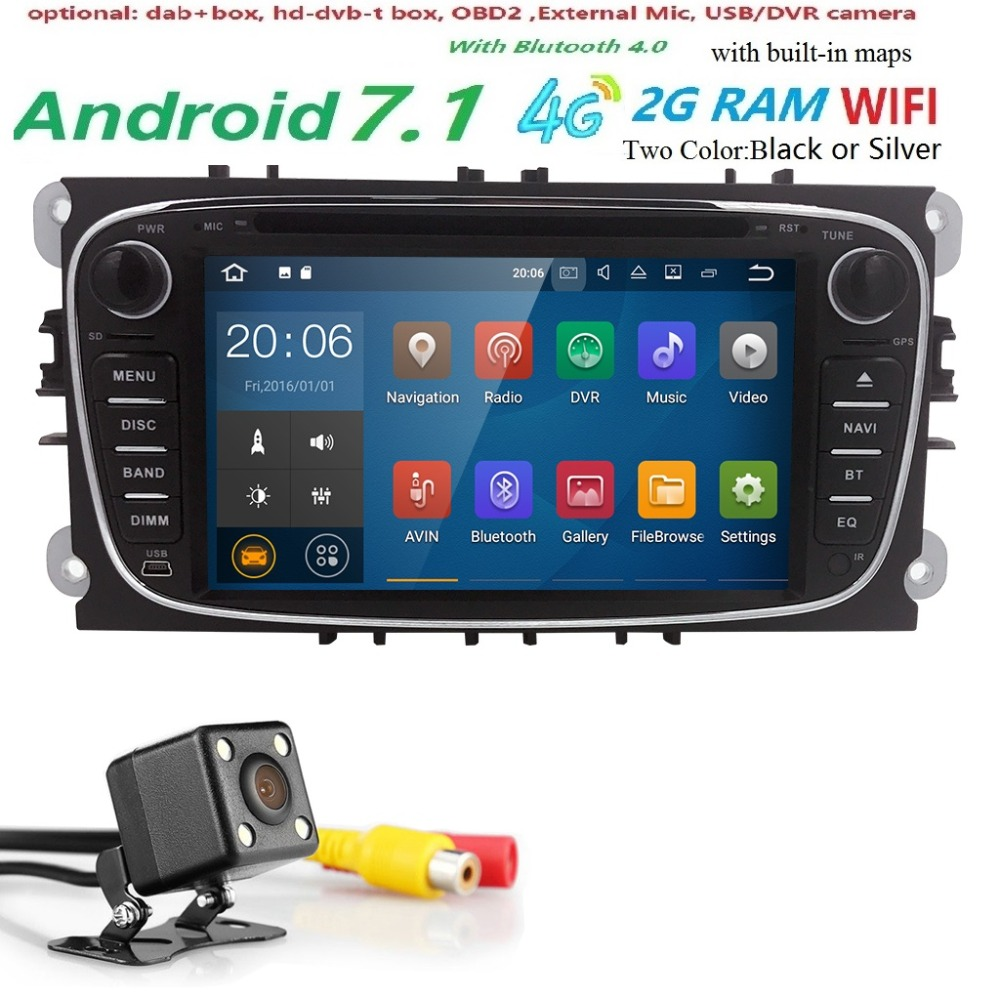 2Din GPS AutoRadio Android 7.1 Car DVD Player For Ford Focus 2 S C Max 2008-2011 Mondeo Fiesta Galaxy Connect Kuga 4G BTSWC Navi