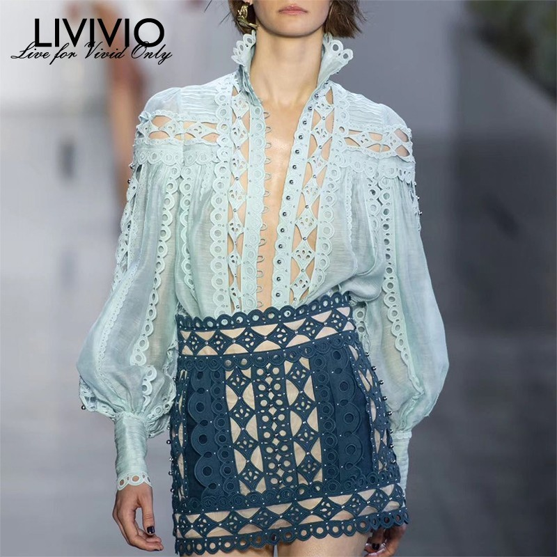 LIVIVIO Sexy Beading Patchwork Women Blouse Stand Collar Lantern Sleeve Hollow Out Shirt Female Fashion