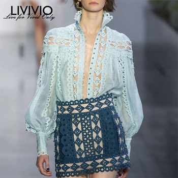 [LIVIVIO] Sexy Beading Patchwork Women Blouse Stand Collar Lantern Sleeve Hollow Out Shirt Female Fashion Summer 2019 New - DISCOUNT ITEM  45% OFF All Category