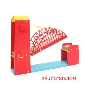 Деревянные железные игрушки для друзей, удлиненный Красный Одиночный подвесной мостик, модель поезда, деревянные аксессуары