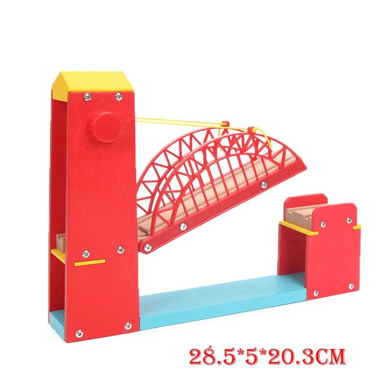 Friends Wooden Railway Toys Extended Red Single Suspension Bridge Model Train Wood Accessries Bloques De Construccion