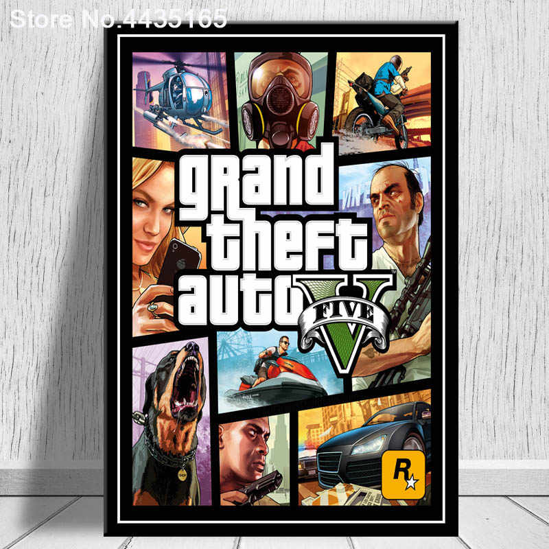 Grand Theft Auto V Video Game GTA 5 Art Poster Wall Art Canvas Schilderij voor Woonkamer Home Decor posters en Prints