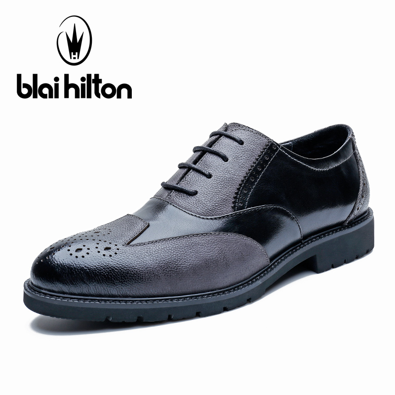 Blai Hilton 100% Genuine Leather Brogue Business Formal Dress Men Shoes Classic Office Wedding Mens Shoes Casual Oxford  Shoes farvarwo brogue shoes mens dress genuine leather oxford black