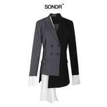 SONDR 2019 New Summer Lapel Long Sleeve Gray Hit Color Pleated Irregular Split Joint Jacket Women Coat Fashion Tide New radio hoist crane industrial wireless controller remote control 1 transmitter 1 receiver cob 63yk