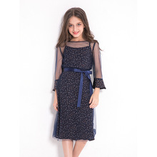 Figwit Girls Flower Autumn A Line Dress Teen Kids Children Clothing Lace Mesh Long Sleeve Teenage for Casual