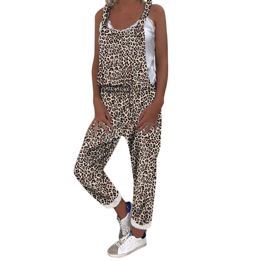 2019 MAXIORILL New сиамские брюки Women's Summer Casual Leopard Print Overalls Wholesale Free Shiping T44