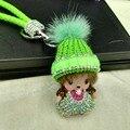 2016 New heat Monchichi Keychain Rhinestone Cute Girl Leather cord Monchichi Crystal Key Chains Holder Women Bag charm key ring