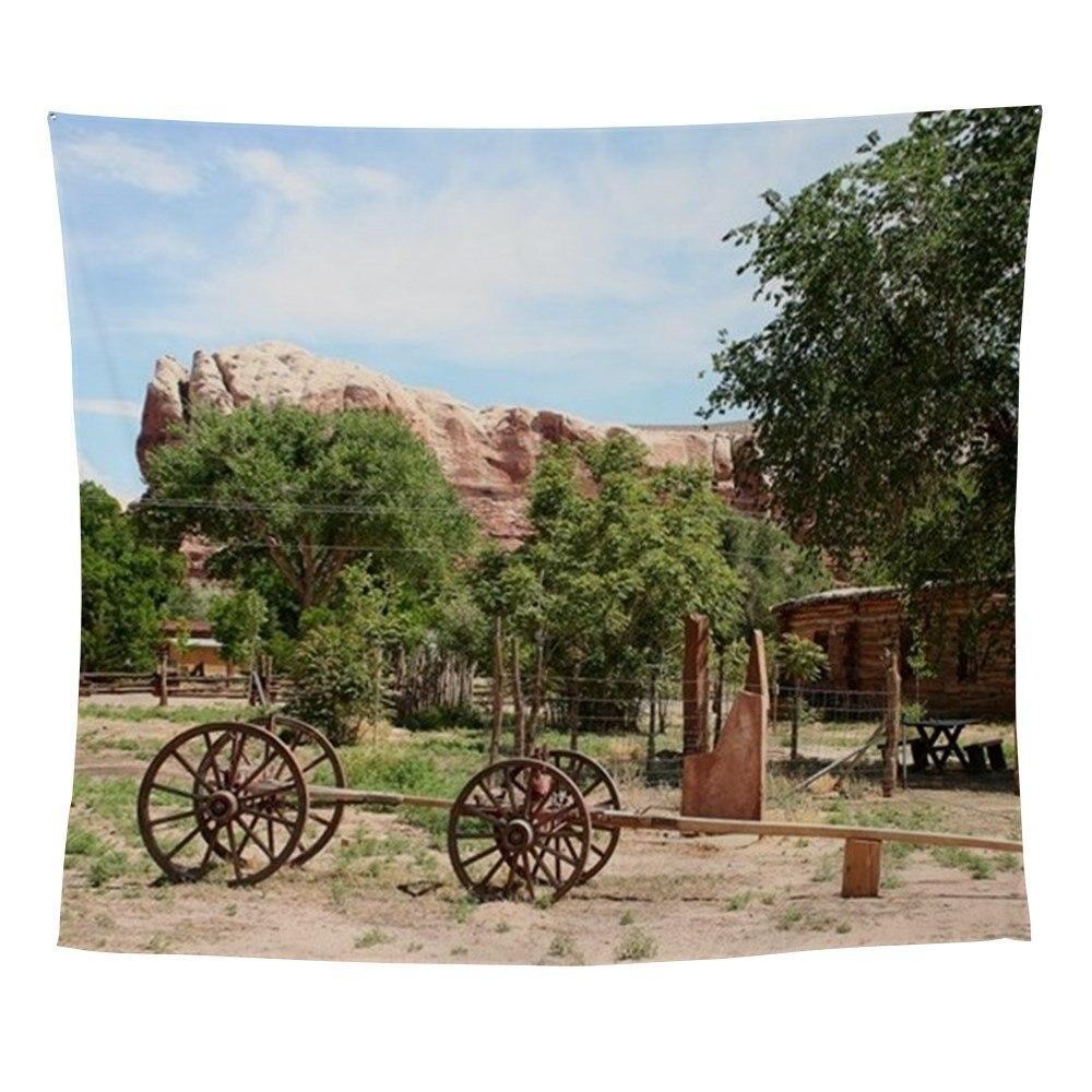 Ancien Wagon, pionnier Village, Utah 2 tapisserie murale plage de sable pique-nique jeter tapis couverture Camping tente voyage tapis de couchage