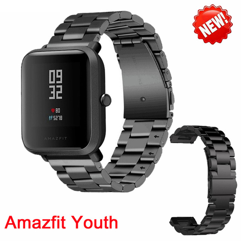 NEW Metal Stainless steel wrist for Xiaomi huami Amazfit Smart Watch Youth Edition Bip BIT PACE Lite band strap fitness bracelet умные часы huami amazfit bip youth edition оранжевый
