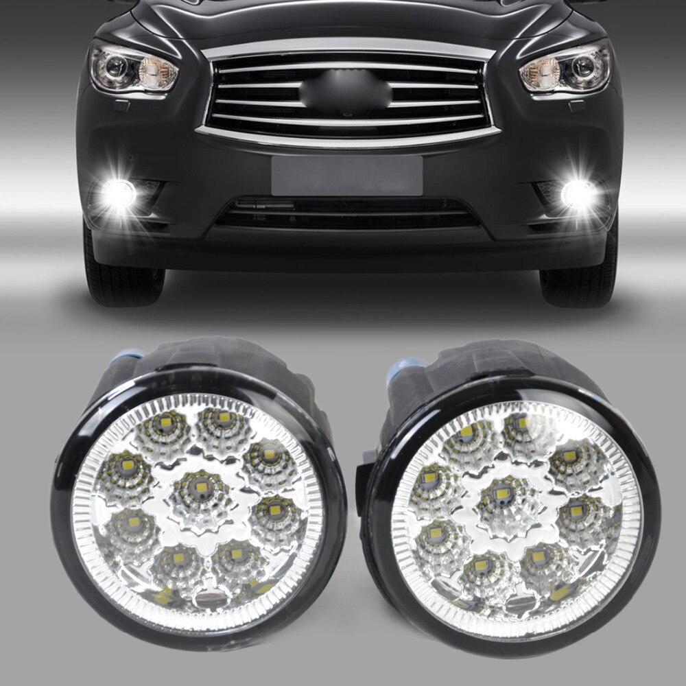 beler 2x Fog Lamp Light 9-LED Daytime Running Light DRL 261508993B 261508992B for Nissan Cube Juke Infiniti EX35 EX37 QX50 FX35