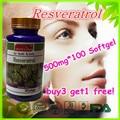 (Compre 3 y Obtenga 1 Gratis) 98% 500 mg de Resveratrol Polygonum Cuspidatum-Anti-Envejecimiento, Anti-oxidante de 100 Cápsulas de 2 Mes de Suministro