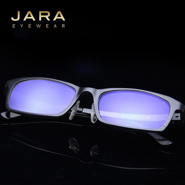 Jara homens titanium uv400 óculos clássico óculos de computador marca anti-blue ray defendendo coating lens quadro de condução ja80184