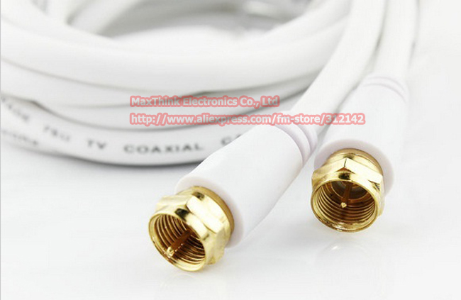 1.8M White Color 4N OFC Coaxial AudioVideo F Male to F Male Closed-Circuit  TV Set-Top Box CableFree shipping2PCS