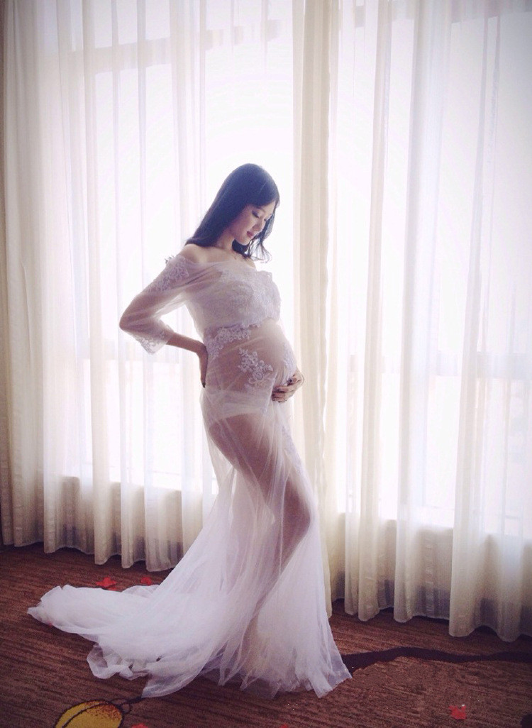 Maternity Organza Dresses Lace Maternity Dress Fashion Pregnancy Photography Fancy Pregnant Woman Photography Props