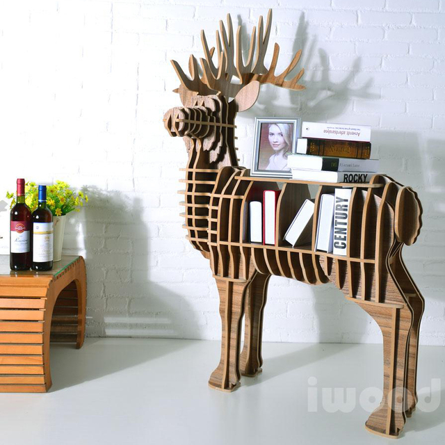 Creative Personality In Animal Models Of Wood Furniture Bookcase Shelving  Big Elk Entrance Tables / Side